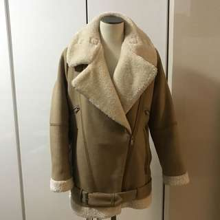 Zara brown camel nude fur jacket motor