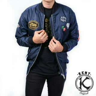 Kent jaket bomber pilot full patch navy