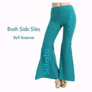 Free Size Flare Bell Bottom Long Pants Sellzabo Both Sides Slits #S48 Turquoise Green Colour Retro Ladies Girls Women Female Lady