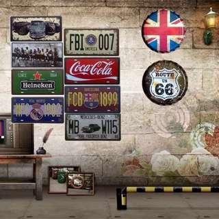 🚚 復古創意居家鐵皮車牌酒吧壁饰工業風背景牆飾