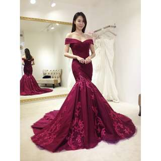 Pre order red off shoulder mermaid bodycon fishtail wedding bridal prom gown dress  RBP0714
