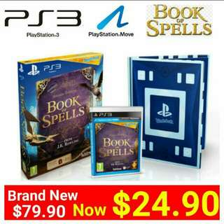 [Brand New] PS3 BOOK OF SPELLS (Move Edition)  From J.KRowling.  (Brand New in box & Sealed) Usual Price:$79.90 Special Offer: $24.90 + Free mail postage Or Whatsapp 85992490 to collect from any mrt stn in town