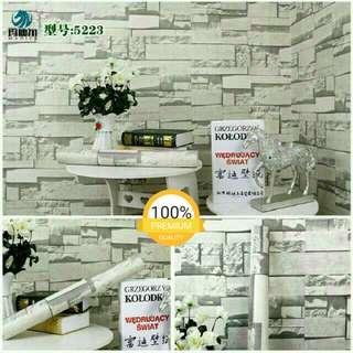Grosir murah wallpaper sticker dinding batu alam putih keabu abuan