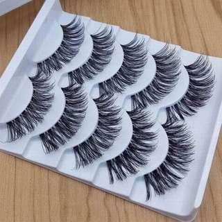 Professional 5 Pairs Makeup Handmade Natural Cross Long False Eyelashes Extension