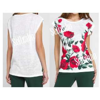 Red Roses #S76 Size M Top Sellzabo Sleevesless White Sleeveless Flowers Ladies Girls Women Female Lady