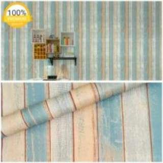 Grosir murah wallpaper sticker dinding kayu vintage biru abu abu orange