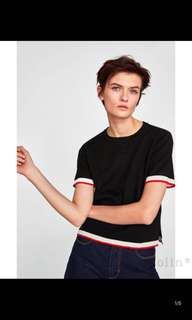 Europe and the United States short-sleeved hit color trim sweater shirt