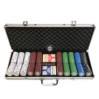 Discounted desert stripe poker chip sets