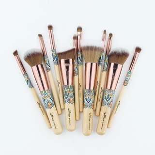 12pcs Tribal Bamboo Makeup Brush Set ~BEAU~