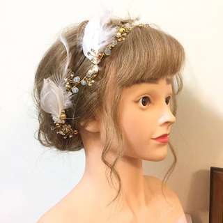 新娘髮飾 仙氣輕柔羽毛髮帶  自主婚紗 新娘秘書 結婚婚禮 造型飾品 舞台表演