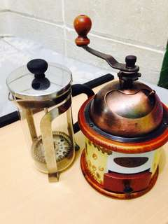 French press and Manual coffee grinder