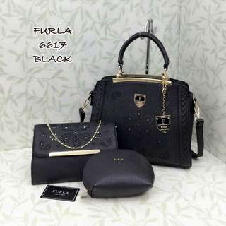 Furla Tote Bag 3 in 1 Set Black color