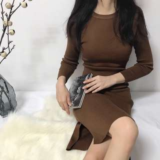 Brown Long Sleeve Knitted Dress