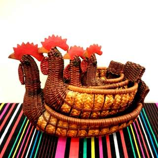 4 Vintage Woven Wicker Chicken Shaped Baskets