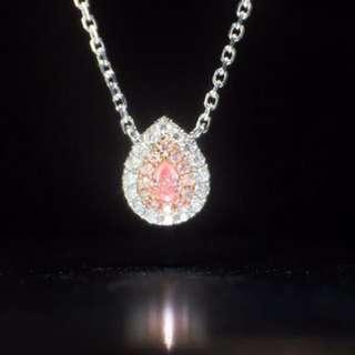 粉紅鑽石18k白金鑽石頸鏈💎罕有優惠價值得收藏💎全新浪漫禮物