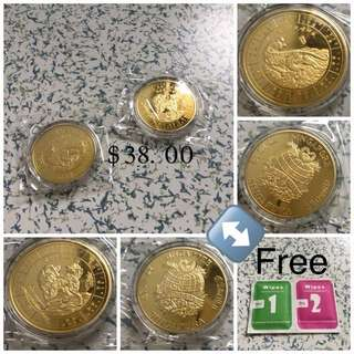 Set Of 2 Plated Vintage 2008 Sheep & Tiger Gold Coins