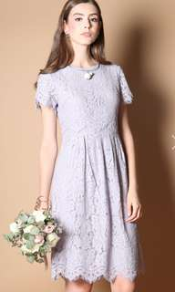 The Stage Walk Lace Midi dress in dusty lilac size S