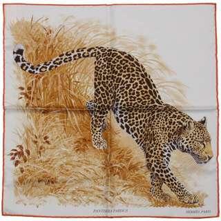 Hermes 全新Panthers pardus 柔米色豹子140羊絨披巾