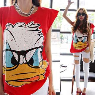 Donald Duck Tee with Rugged Cap Sleeves