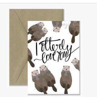 """I otterly love you"" love or anniversary card"
