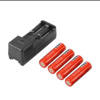 BN 4 pcs 18650 rechargeable batteries with charger