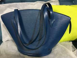 LOUIS VUITTON Toledo Blue Epi Leather Saint Jacques GM Bag