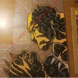 Hama beads design Marvel huge black panther