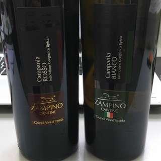 Zampino Cantine兩款意大利紅白餐酒 高性價比,原價HK$99.00/枝。 批發價7折,歡迎大量訂購。婚宴請客首選。