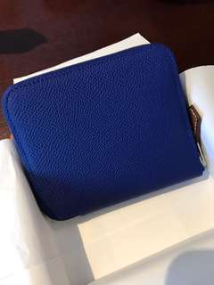 NEW HERMES ELECTRIC BLUE SILK IN COMPACT WALLET