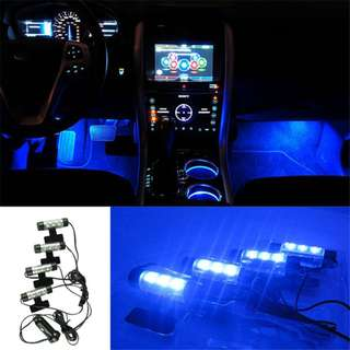 wupp 4 x 3 LED Car 12V interior decorative car lights 4in1 car interior atmosphere light