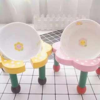 🚚 【黃色現貨】陶瓷小花碗 高腳组合木架寵物貓咪狗狗泰迪博美吉娃娃雪纳瑞食盆