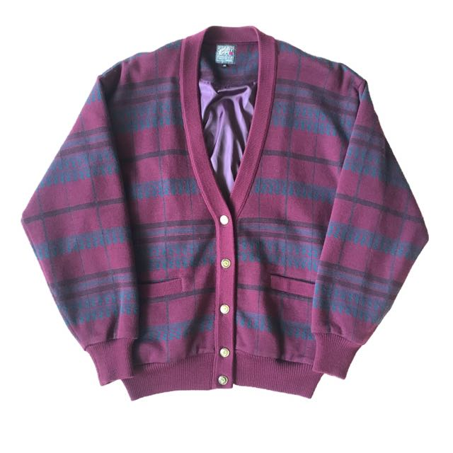 顛復古⚡️復古桃紫色斜菱格格紋路古著羊毛開襟外套❤️男女皆可