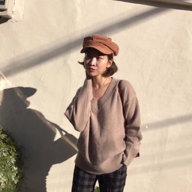 日本帶回!淺焦糖駝色挺版報童帽貝蕾帽顯小臉素顏時戴也超方便歐美韓國韓妞