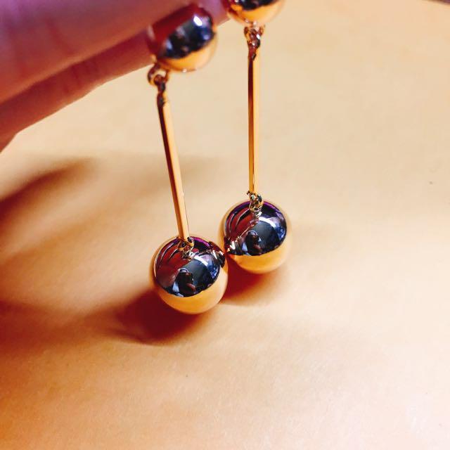 大圓珠耳環(金)