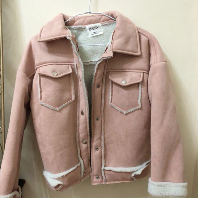 [全新]麂皮粉色羔羊毛外套❤️#超取再七折