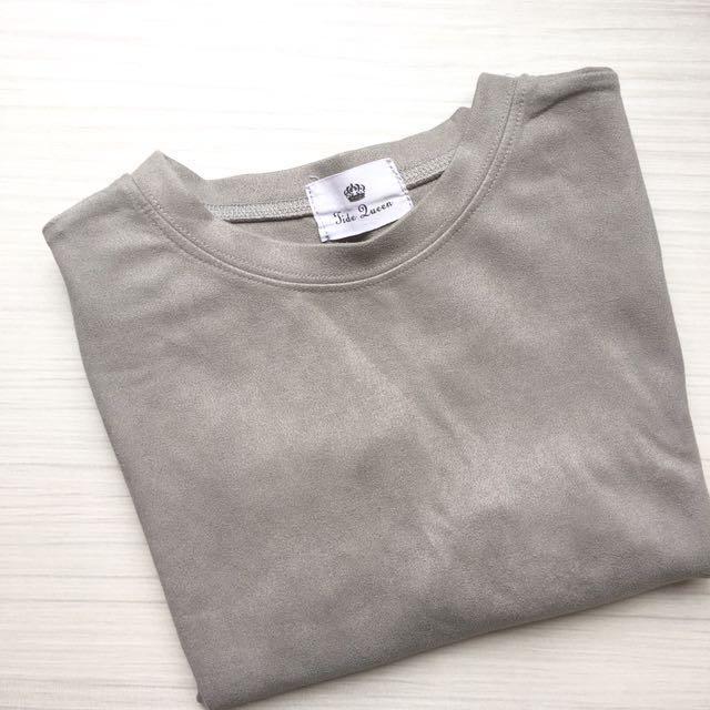 灰色麂皮短袖上衣 #超取再七折