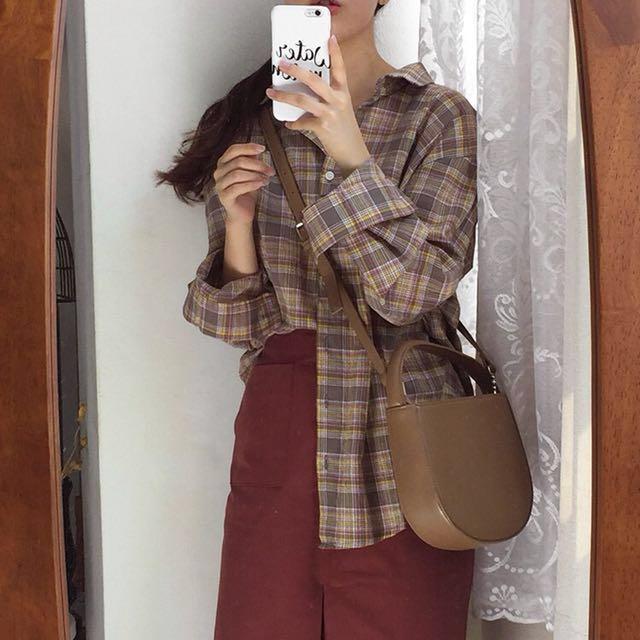 全新 大地色格紋襯衫 咖啡色襯衫 #超取再七折