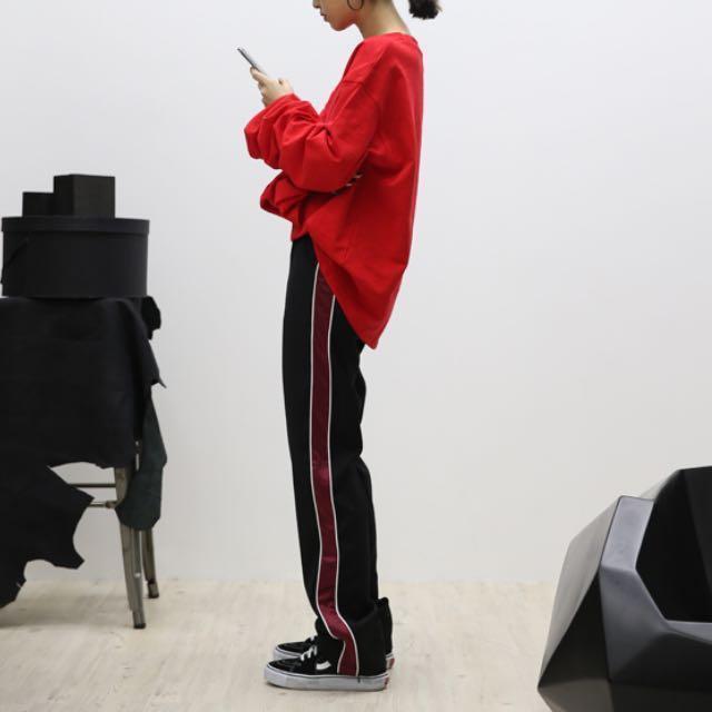 西裝褲 運動褲 條紋 線條 紅 酒紅 黑 直筒褲