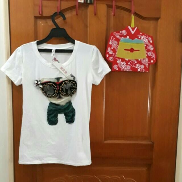 新品 女生 白色 上衣 短袖 t恤 貓咪 立體 圖案 純白 可愛 時尚 棉T 女生 全新