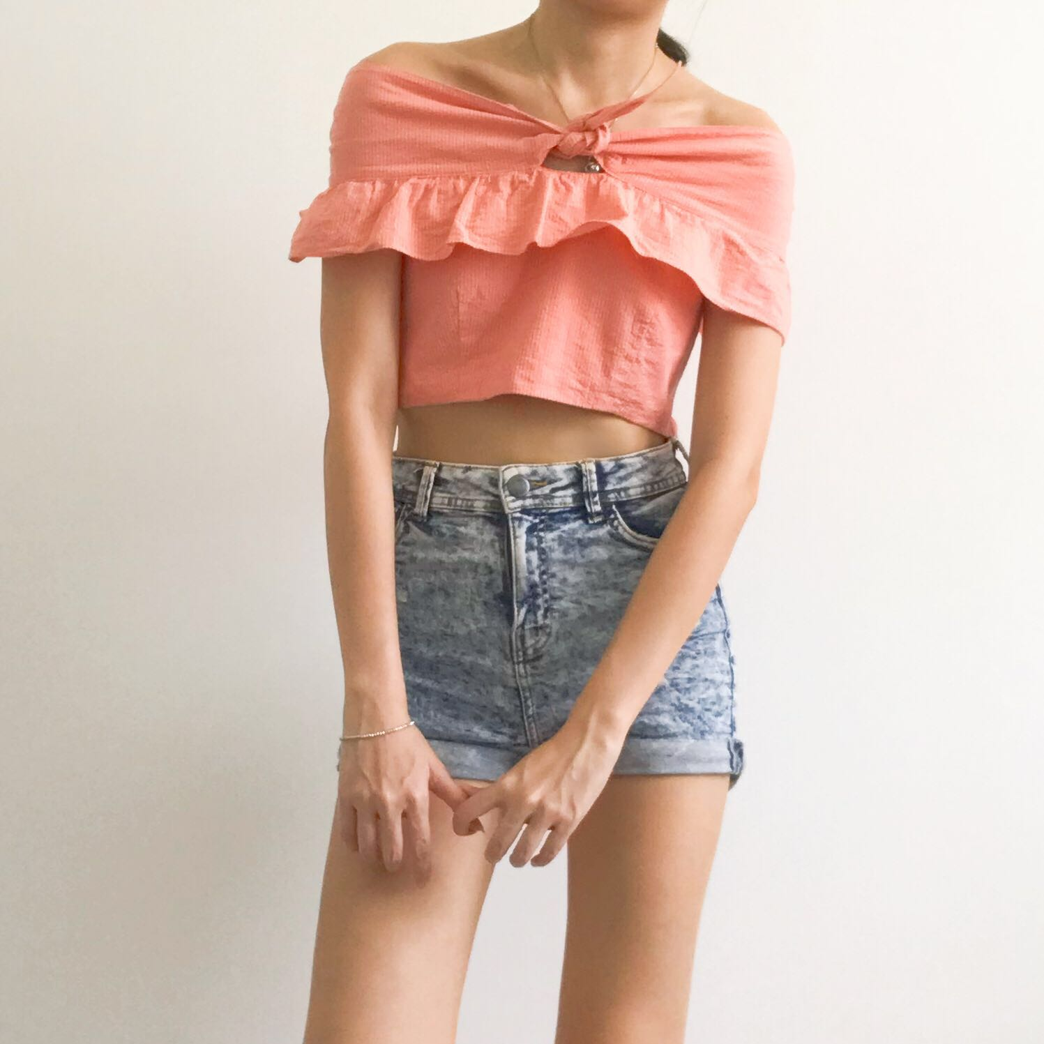 🆕 Orange Off Shoulder Top
