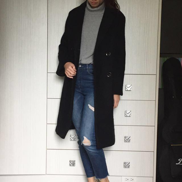 全新黑色長版大衣 starmimi #超取再七折