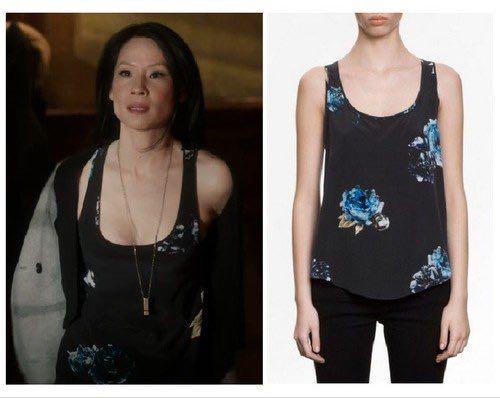 Allsaints Silk Peony-Print Vest top, size 4