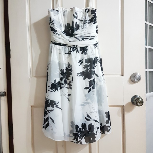 Ann Taylor floral black and white tube dress