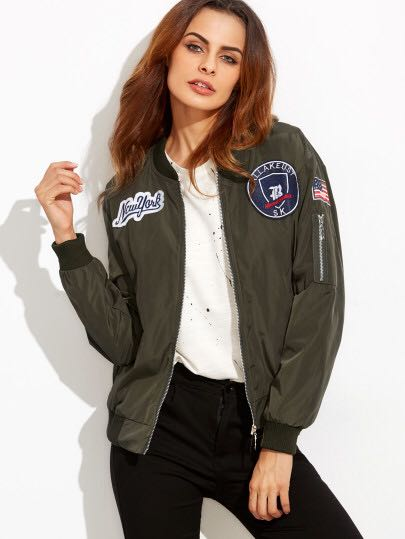 Army Green Embroidered Bomber Jacket