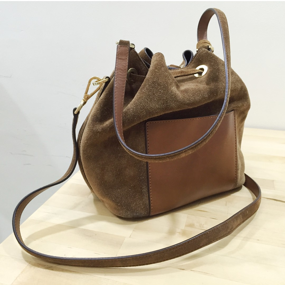 Authentic Michael Kors Greenwich Suede Caramel Bucket Bag Womens Fashion Bags Wallets On Carousell