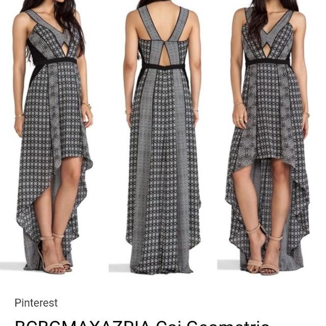 BCBGMaxAzria geometric high-low dress