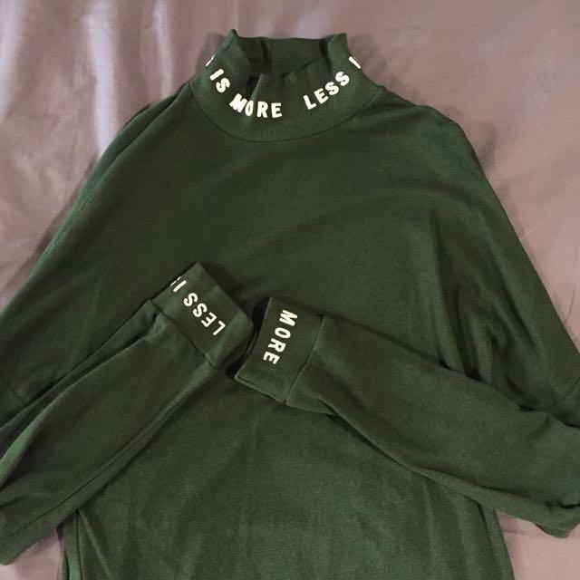 Bershka 綠 長版 長袖 洋裝 高齡 字母