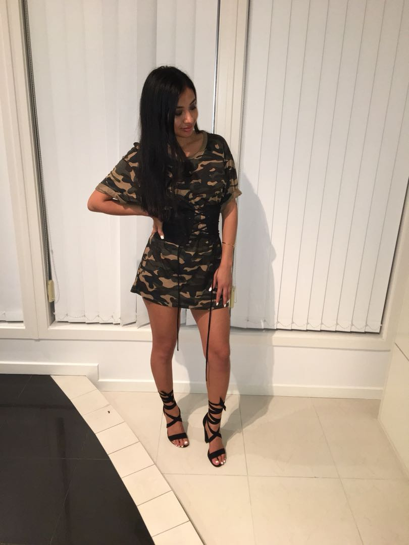 Bershka camo t shirt dress