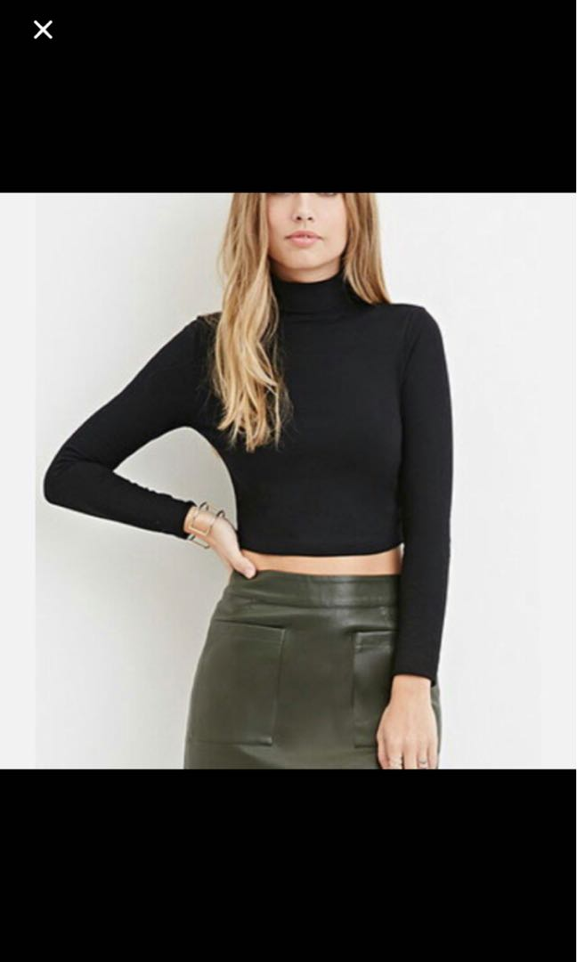 Black F21 cropped turtleneck