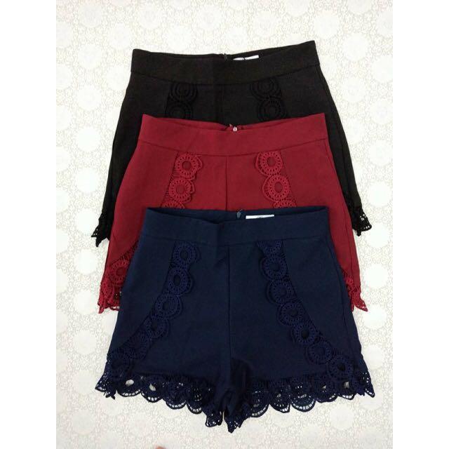 Black Side Crochet Pants